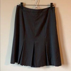 LOFT Pinstripe Gray Skirt with Kick Pleats